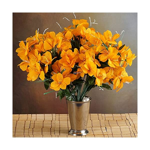 144-Wholesale-Artificial-Silk-Amaryllis-Flowers-Wedding-Vase-Centerpiece-Decor-Orange