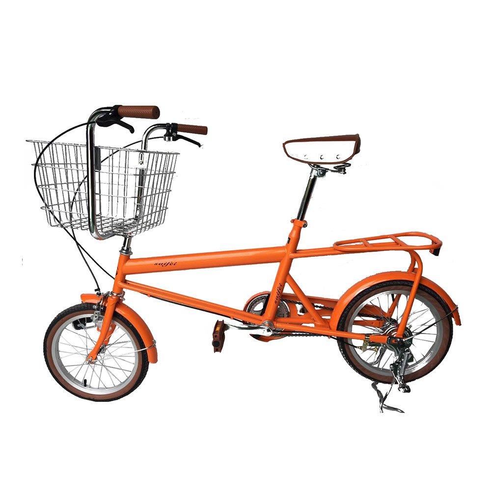 ベット乗せ自転車 16インチ ミニベロ 小径車 自転車 荷物たっぷりOK お買い物便利 95%完成車 B079JVB9MR オレンジ オレンジ
