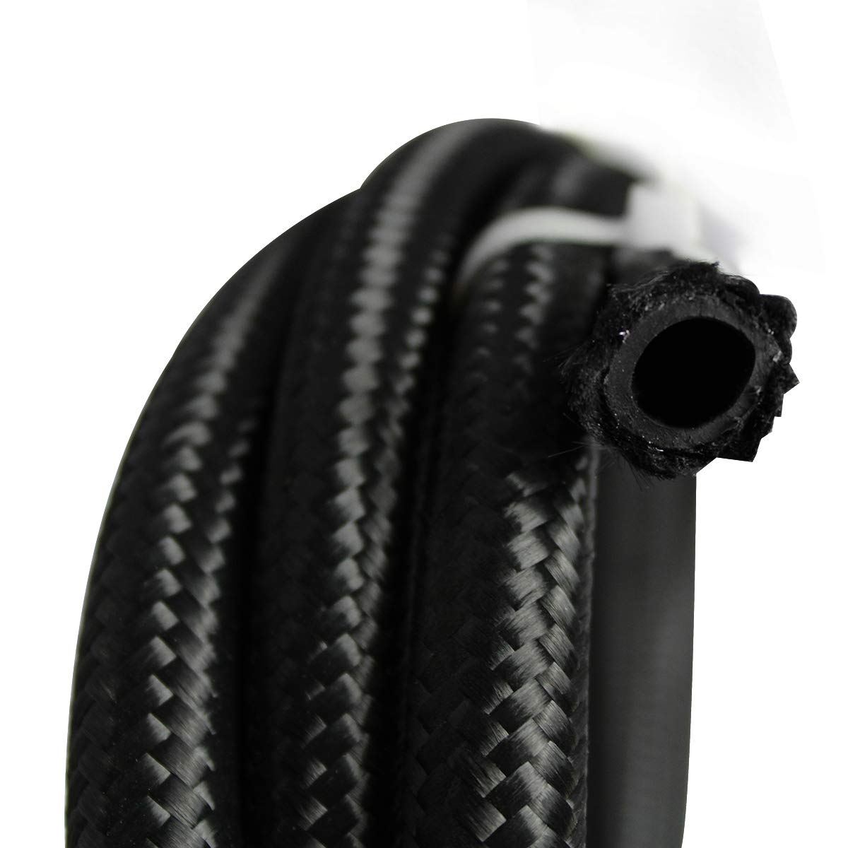 16Ft 8AN AN8 Universal Stainless Steel Braided Fuel Line Hose Ends,Black
