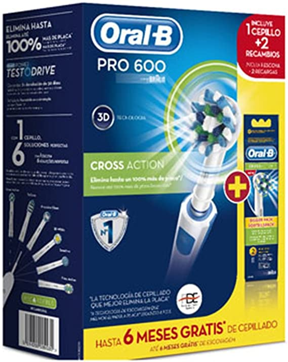 Oral-B - Cepillo Dental Pro600 Cross Action + 2 Rec.(Pack): Amazon ...