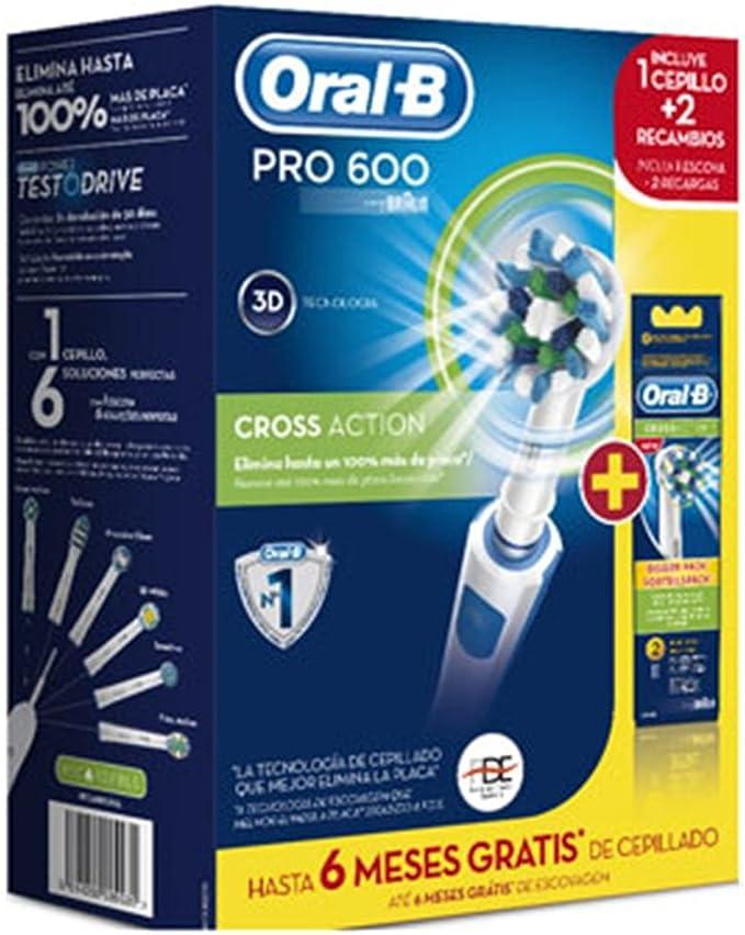 Oral-B - Cepillo Dental Pro600 Cross Action + 2 Rec.(Pack): Amazon ...