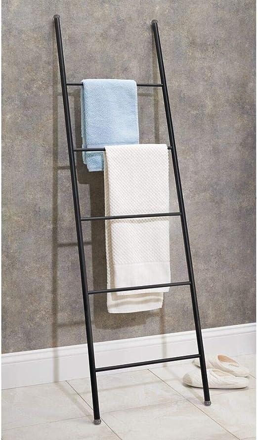 mDesign Toallero escalera de metal inoxidable – Práctico mueble toallero para toallas de mano, toallas de ducha y más – Modernos toalleros de pie con 5 barras – negro mate: Amazon.es: Hogar