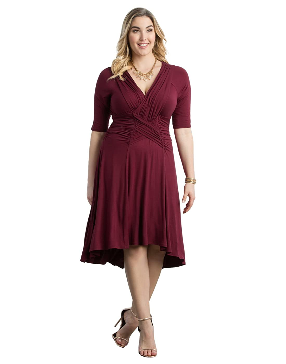 Amazon.com: Kiyonna Women\'s Plus Size Refined Ruched Dress 1X Merlot ...