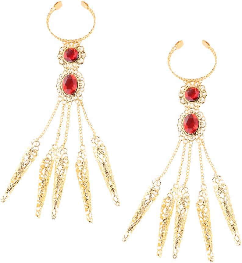 Sharplace 2X Pulsera Egipcia para Mujer para Danza del Vientre con Uñas De Oro Antiguo
