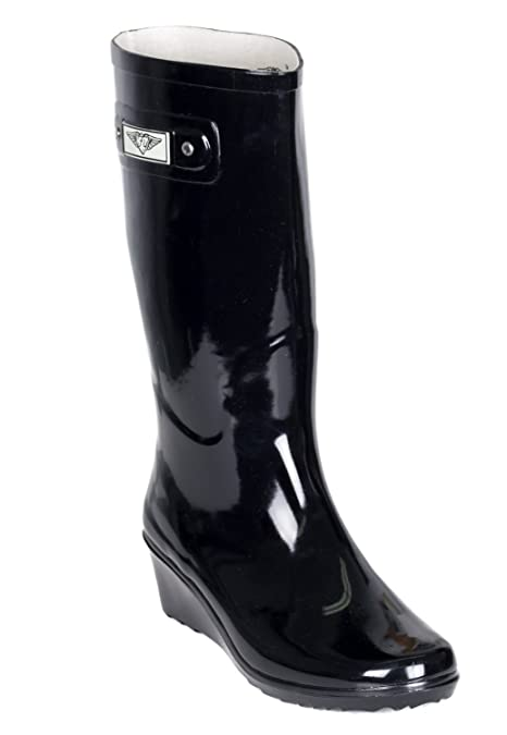 926f3ab8e27 Forever Young Women Rubber Rain Boots, Wedge Heel Design with Cotton Lining  (Shiny Black,10)