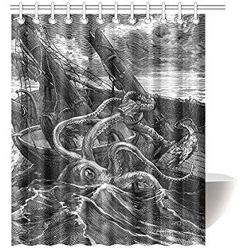 Colivy Innovation Print Design Fashion Kraken Octopus Pirate Ship Shower Curtain Mildew Waterproof Polyester Fabric Bathroom