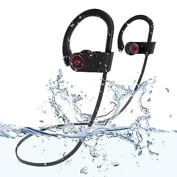 Surenhap Auriculares Bluetooth, IPX7 Auriculares inalámbricos impermeables, auriculares con cancelación de ruido con micrófono