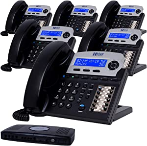 XBLUE X16 Small Business Phone System Bundle with (6) Phones - (6) Outside Line & (16) Phone Capacity - Includes Auto Attendant, Voicemail, Caller ID, Paging & Intercom