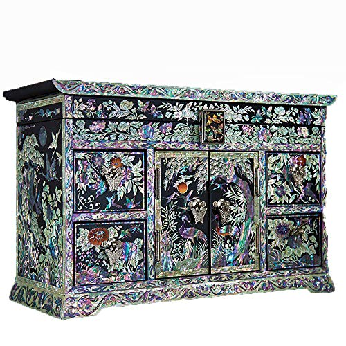 HONGGE Jewellery Box,Shell Inlaid Solid Wood Drawer Jewelry Box Vintage Gift Jewelry Box 32.51321cm