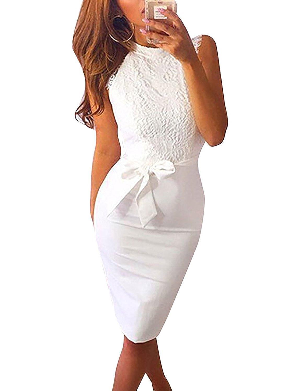Minetom Damen Sommerkleid Spitzenkleid Abendkleid Sexy Ärmellos Weiß ...