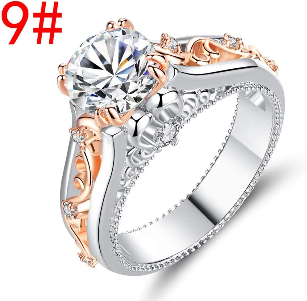 Haluoo Sterling Silver Created Green Amethyst Filled Solitaire Engagement Wedding Band Simulated Gemstone Birthstone Promise Ring Floral Cocktail Anniversary Ring for Women Girls 6, Rose Gold