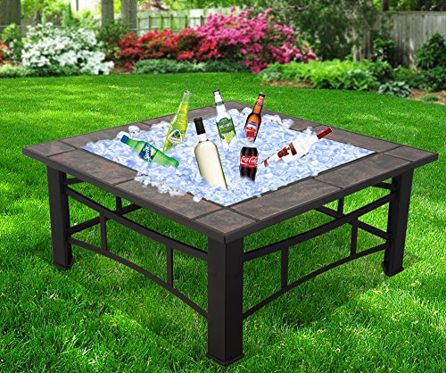 patio with square fire pit. RayGar 3 In 1 Square Fire Pit BBQ Ice Patio Heater Stove Brazier Metal Outdoor Garden Firepit Ceramic Tiles + Protective Cover (Now Includes Tray) With