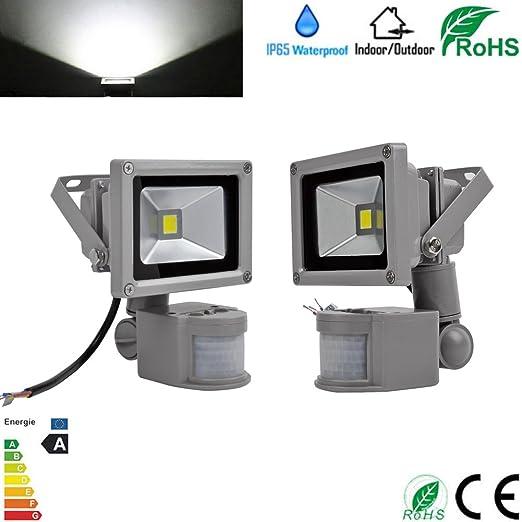 2 x 10 W blanco frío LED Foco con detector de movimiento lámpara bombilla foco exterior