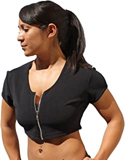 product image for Physique Bodyware Women's Zipper Front Crop Yoga/Fitness Top. Made in America.