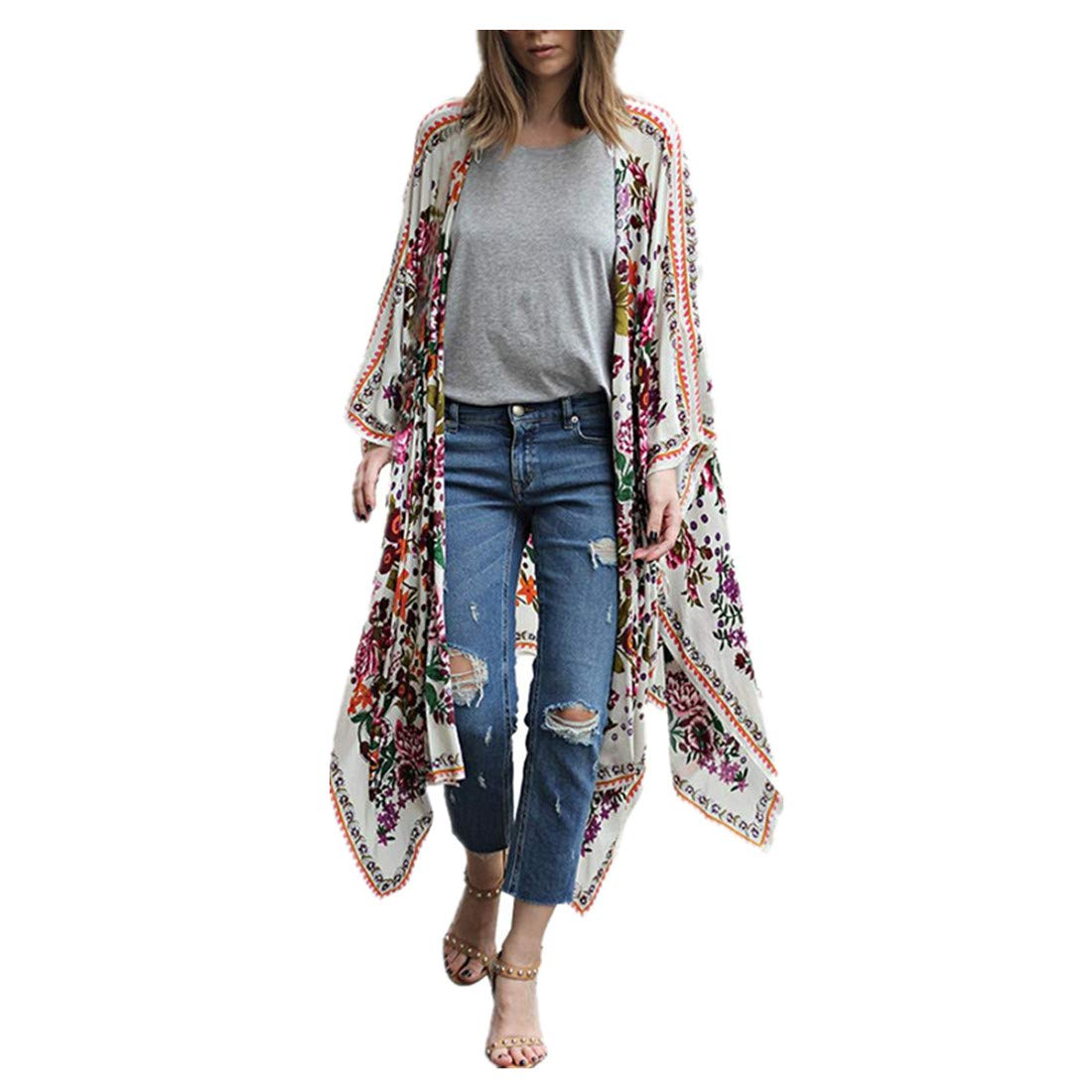 Damen Boho Bluse Cardigan Shirts Tops Hemd Blumen Strand Jacke Oberteil Mantel