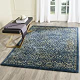 Safavieh Evoke Collection EVK511A Vintage Navy and Gold Area Rug (4′ x 6′) For Sale