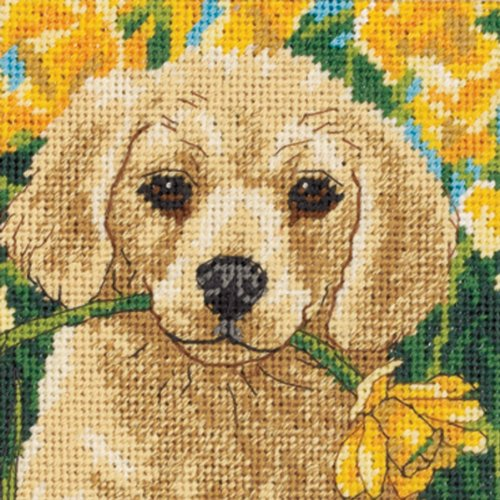 Dimensions Needlepoint Kit, Adorable Puppy in Garden Needlepoint, 5'' W x 5'' H