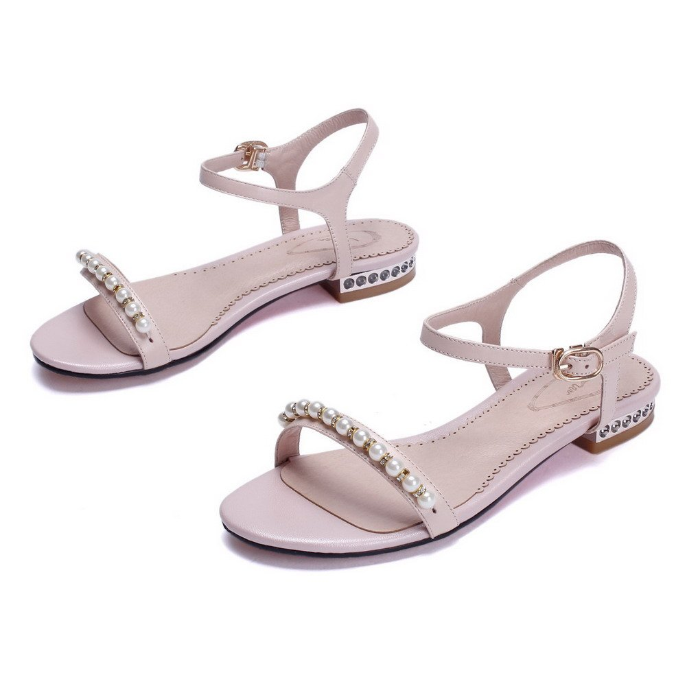 AmoonyFashion Women's Buckle Low-heels Cow Leather Solid Open-Toe Sandals B01I4GCIJC 6.5 B(M) US|Pink