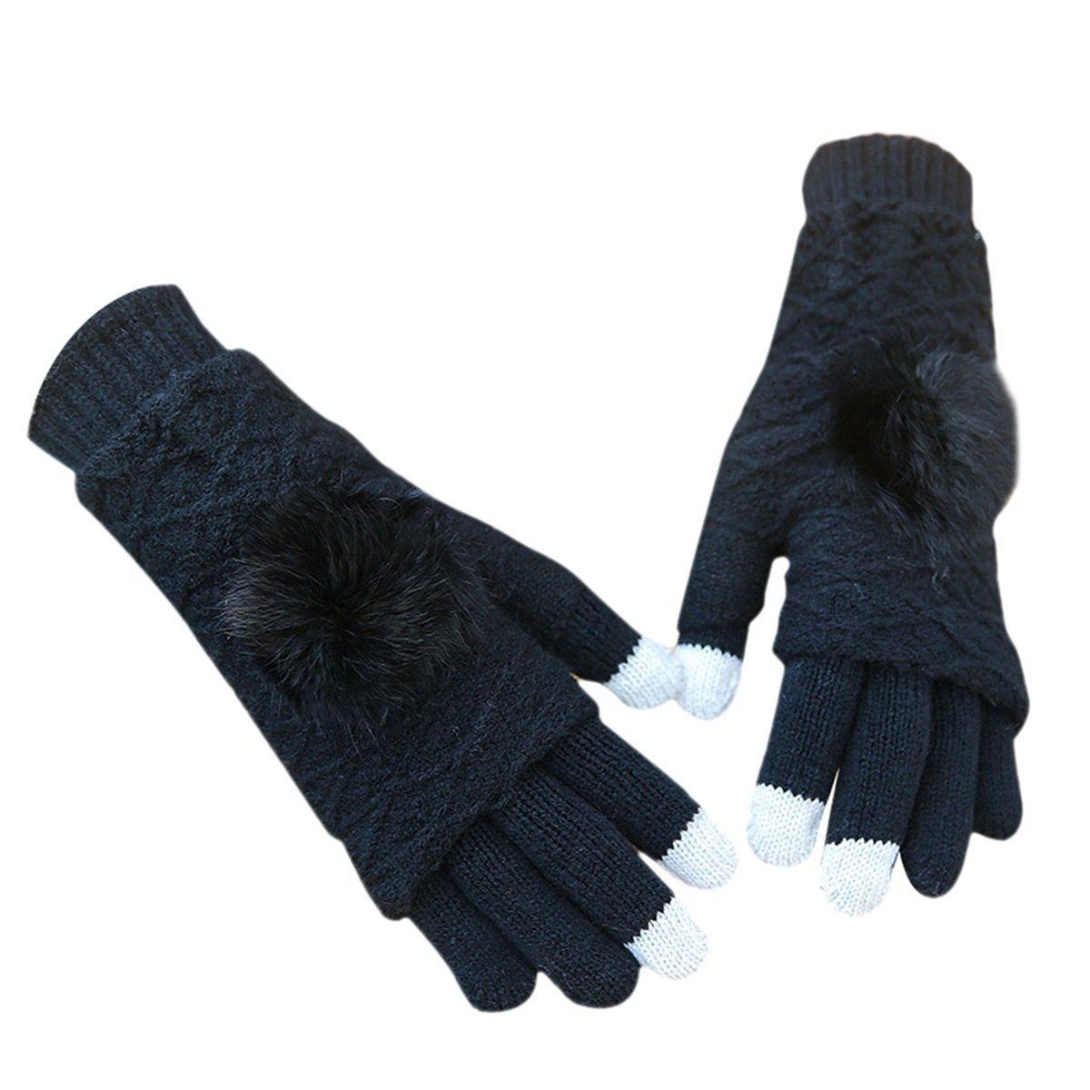 Guanti da ragazza con funzione touch screen, Tukistore guanti Winter Warmer lavorato a maglia con guanti full finger in lana Guanti Texting Guanti touch per smartphone XD5000007QE