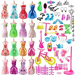 Total 120pcs Barbie Doll Clothes Set - 20 Pack Clothes Party Gown Outfits for barbie dolls+ 100pcs Dolls Accessories Shoes Bags Necklace Mirror Hanger Tableware - The Greatfor Girl Birthday Christmas