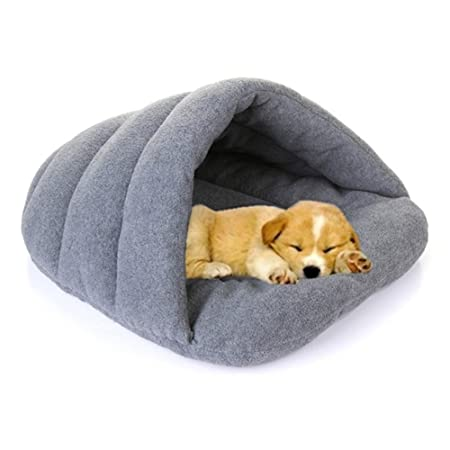 FAVOLOOK Dogs Sleeping Bag, Pets Cave Bed Half Covered Cuddle Cushion Kennel in Winter Warm Comfortable Pouch for Cats Rabbit Puppy