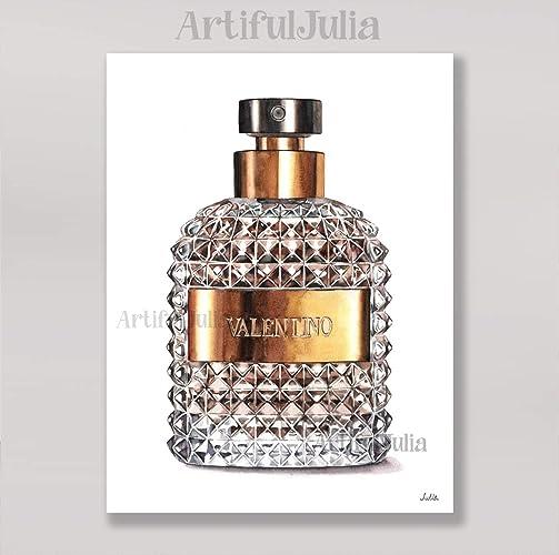 Amazon.com: brown Valentino perfume art print of watercolor painting ...