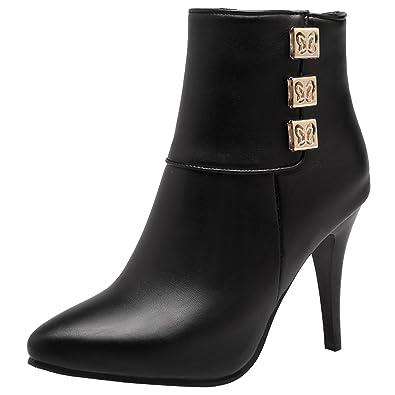 AIYOUMEI Damen Herbst Winter Spitz Stiefeletten mit 10cm Absatz und Metalldekoration High Heels Kurzschaft Stiefel FAQHBWvvQ