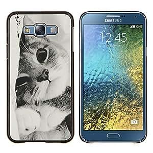 Negro Gatito blanco lindo Pelo Corto mascotas- Metal de aluminio y de plástico duro Caja del teléfono - Negro - Samsung Galaxy E7 / SM-E700