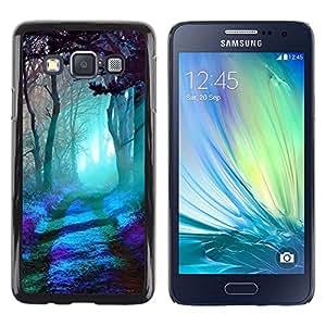 LECELL--Funda protectora / Cubierta / Piel For Samsung Galaxy A3 SM-A300 -- Forest Magical Light Blue Trees Art Mystical --