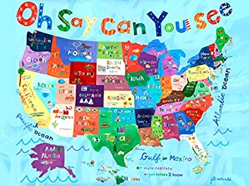 Amazoncom Oopsy Daisy Oh Say Can You See Usa Map Stretched - Us map canvas wall art