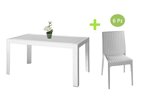 Sedie In Rattan Da Interno : Sedie sedia da esterno interno in simil rattan colore bianco areta
