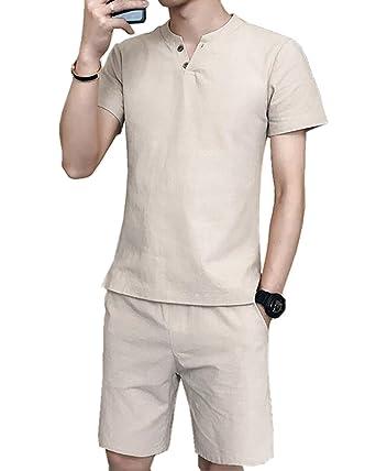 135d7776d67b70 Amazon | SANKU メンズ ジャージ 上下セット 2点セット リネン 綿 麻 ヘンリーネック 半袖 tシャツ+ショートパンツ 人気  上下スウェット 薄手 セットアップ ...