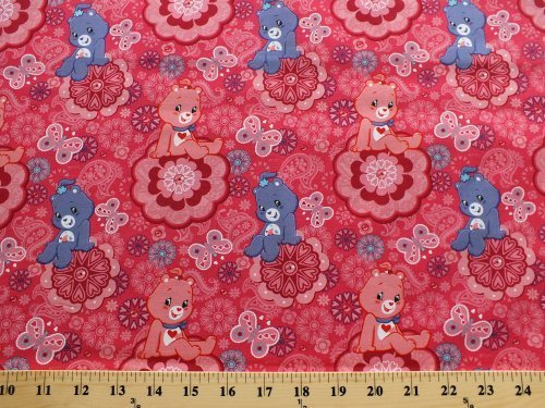Cotton Care Bears Characters Purple Pink Paisleys Hearts Butterflies Flowers Floral Kids Children's Girls Cotton Fabric Print by the Yard (Care Bears Quilt Squares)