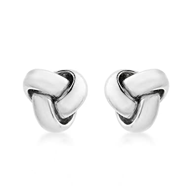 Carissima Gold Women's 9 ct White Gold Knot Stud Earrings Y9TyH7