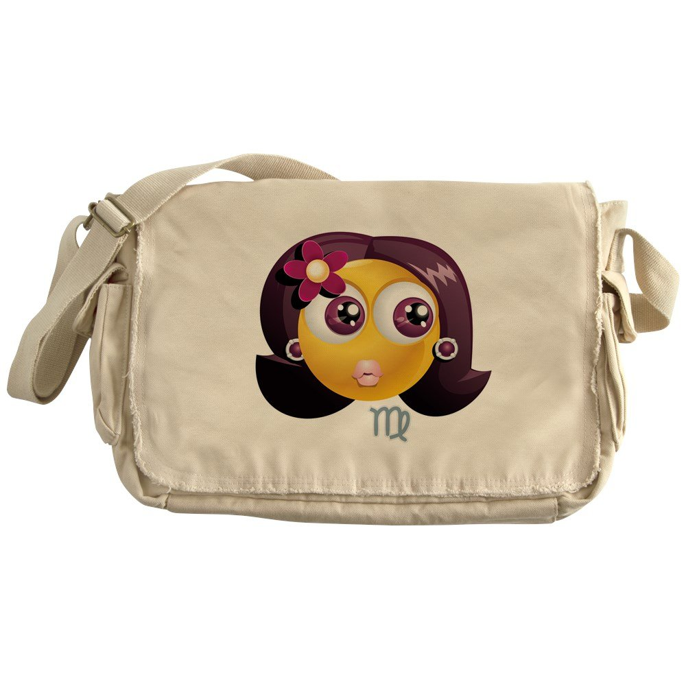 Truly Teague Khaki Messenger Bag SmileyFace Zodiac Virgo