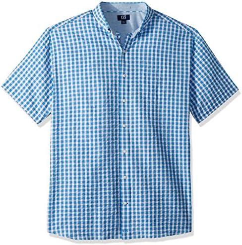 Cutter & Buck Men's Plaid Short Sleeve Button Shirt, Poolside Tyler Seersucker, Large
