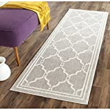 Safavieh Amherst Collection AMT414B Light Grey and Ivory Indoor/Outdoor Runner, 2 Feet 3-Inch by 20 Feet