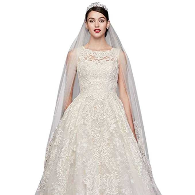 Beaded Lace Wedding Dress with Pleated Skirt Style CWG780, Solid ...