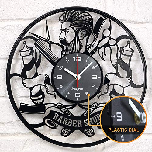 (Barber Shop clock vinyl record Hipster Hairdresser Hair Salon Beauty Salon vinyl clock decor art vinyl record clock decorations unique handmade decor laser cut vinyl)