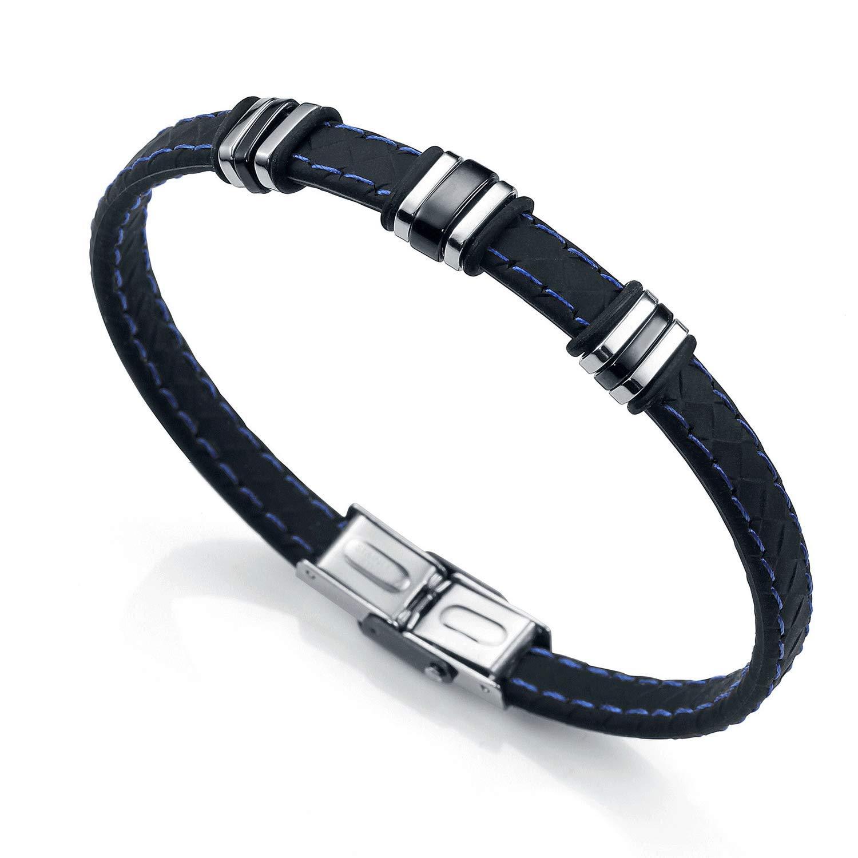 Pulsera de acero de Viceroy Fashion en ip negro y silicona para hombre.