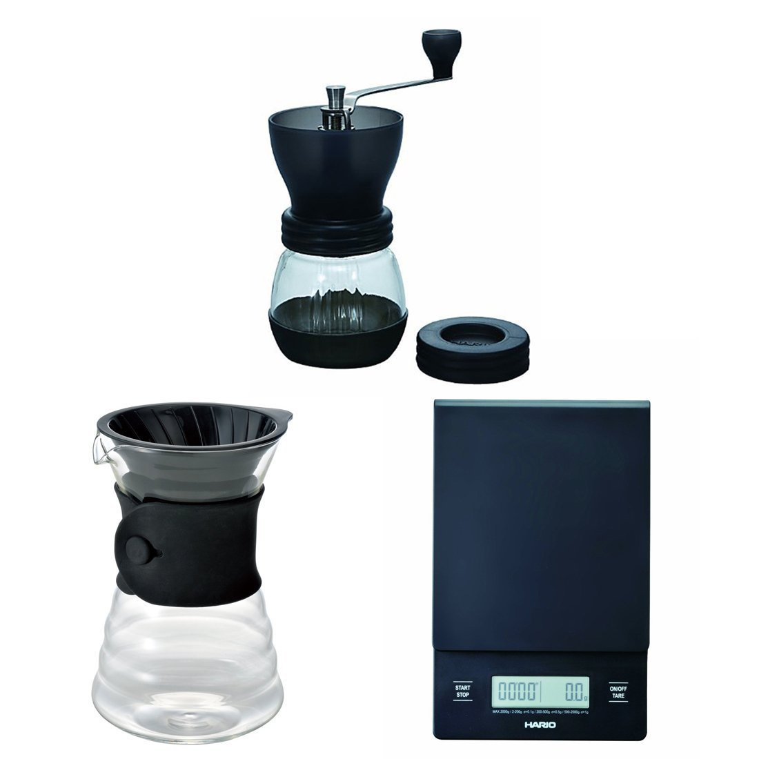 Hario V60 Scale, Decanter & Coffee Mill - Three Products All Sold Together VST-2000B VDD-02B. MSCS-2TB