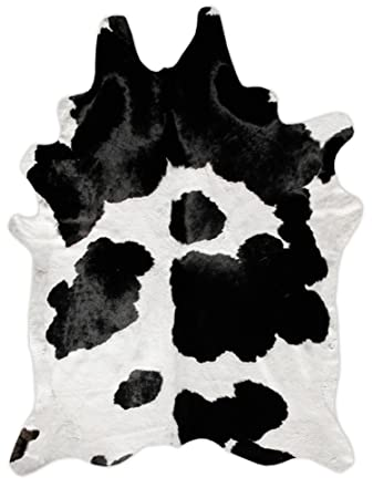 A STAR Rugs(TM) Black And White Cowhide Rug   5ft X 5