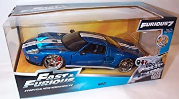 Jada Fast Furious  Ford Gt In Midnight Blue With White Racing Stripes Car