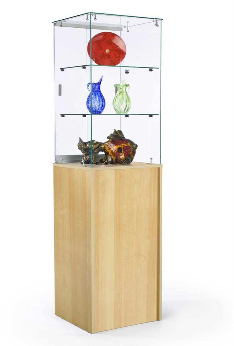 Displays2go, Glass Display Pedestal Stand, Laminated Particle Board -Clear, Maple (FRCTWRHM)