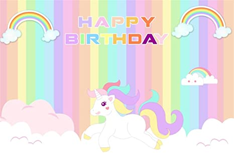 AOFOTO 10x7ft Cute Unicorn Happy Birthday Background Colorful Rainbow Cartoon Cloud Photography Backdrop Party Decor Photo