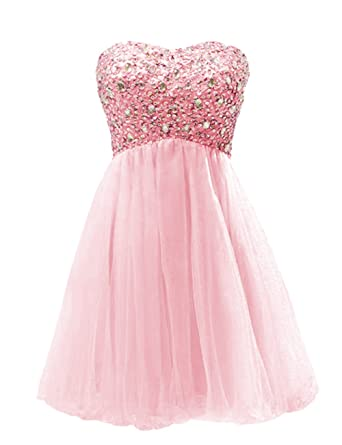 Dressystar Short Tulle Sweetheart Shiny Beaded Prom Dresses Size 6 Pink