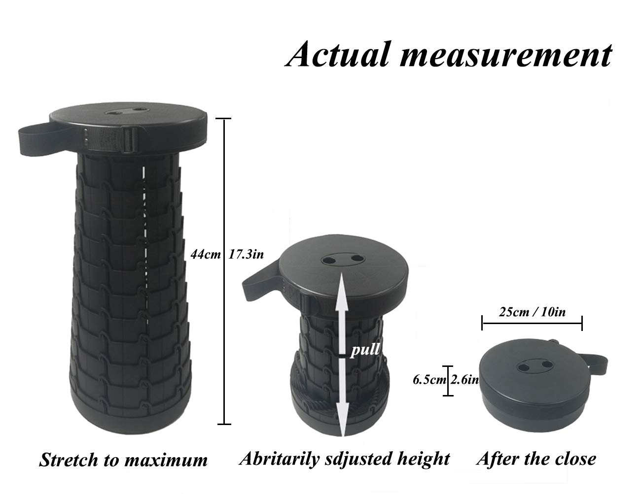 Portable Folding Stool with a Carry Handle for Camping Fishing Picnics Outdoor Activities Ajudtable Telescoping Folding Stool Black Adjustable Telescopic Camping Stool with an Adjustable Strap