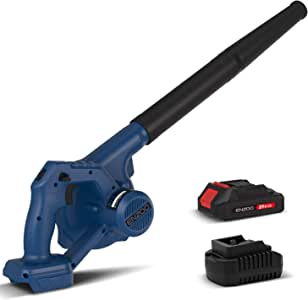ENZOO Cordless Electric Leaf Blower & Vacuum 2-in-1 Variable Speed MAX 20V with 2.0Ah Lithium-Ion Battery and Charger Included for Clearing Leaf and Sweeping Dust (Blue)