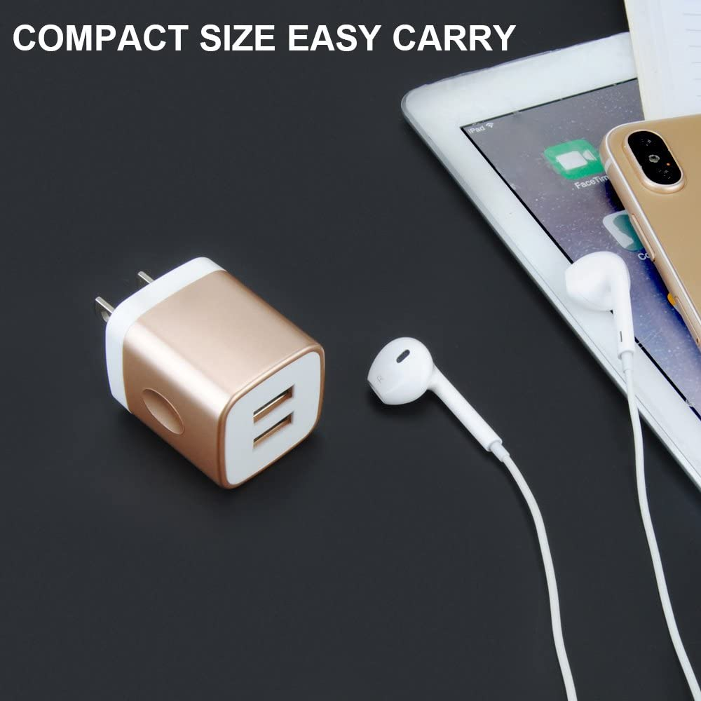 Samsung Galaxy S10+ S9 S8 S7 Note 9 LG G8 ThinQ G6 V30S GiGreen Dual Port USB Wall Plug 2.1A//5V Travel Charging Block Compatible iPhone XS Max X 8 7 7p 6 6p HTC Oneplus 7 6T USB Charger Adapter