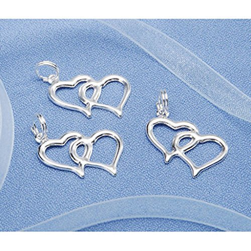 Double Linked Heart Charms Favor Invitation Decoration Silver 100 Pieces ()